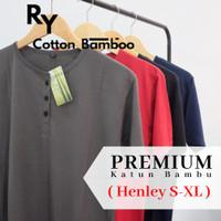 Kaos Henley Polos Katun Bambu Lengan Pendek ( Cotton Bamboo T-Shirt )