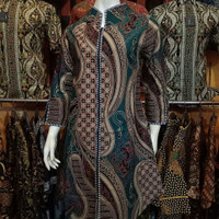 Tunik Batik Wanita Zipper | Atasan Batik Wanita Terbaru