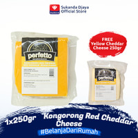 Perfetto Kongorong Red Cheddar 250 gr FREE Yellow Cheddar Cheese 250gr
