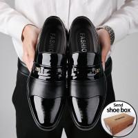 Sepatu Pantofel Bahan Kulit Ukuran Besar untuk Pria/Bisnis - Black, 39