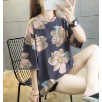 Kaos Flower Abstrak T Shirt Wanita Tangan Pendek Jumbo Bunga