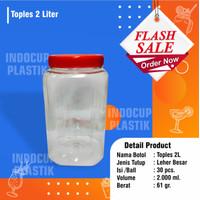 toples plastik 2 liter tebal (61gr) include tutup merah