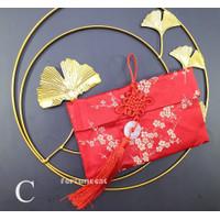 Angpao Imlek Sanjit Kain Merah Premium Giok Horizontal Bunga - Kode C