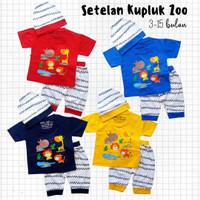 Baju Setelan Anak Bayi Laki-laki Kaos Zoo Binatang Kupluk 3-15 bulan