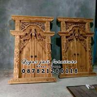 set pintu jendela rumah bahan kayu jati TIPE GEBYOK MENTAHAN
