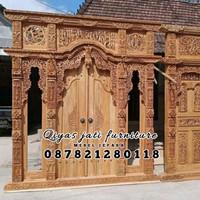 set pintu rumah bahan kayu jati TIPE GEBYOK UKURAN 200x250 HARGA MURAH