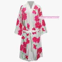 baju handuk kimono import motif kembang | kimono handuk dewasa import - pink, All Size