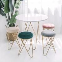 Nordic Gold Geometric Suede Stool / Bangku Kursi Minimalis Modern Chic