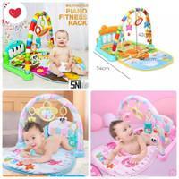 Baby play gym   play mat piano musical mainan piano fitness PINK BIRU