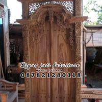 set pintu rumah bahan kayu jati TIPE GEBYOK UKURAN 130x250 HARGA MURAH