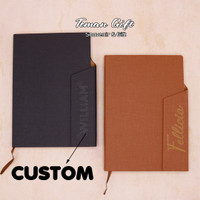 Fabric Notebook A5 Buku Agenda Planner Hard Cover Custom Logo Nama - Coklat, Tanpa Cetakan