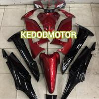 Cover Full Set Body Halus Supra Fit New - Fit X Hitam Merah + Striping