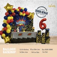 Balloon Decor - Backdrop Balon Ulang Tahun - Banner - Boy