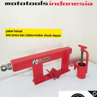 alat press ban motor tubles dan treker shock depan motor bebek matic
