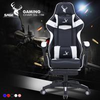 SAGE Chair Kursi bangku GAMING game With Footrest 145 ° SG-168 PUTIH