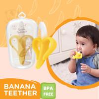 Teether gigitan baby toothbrush banana bayi sikat pisang + Free Kotak