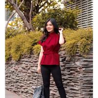 Atasan Blouse Wanita Belt Formal Casual Top Maroon Red Imlek CNY BC