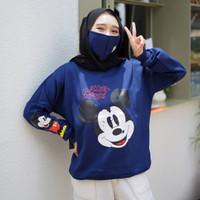 Sweater fleece wanita Mickey FREE MASKER - Navy