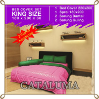 Bed Cover Set Polos - 2 Warna - Pink & Green - Kingsize 180 x 200