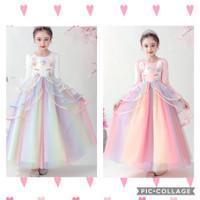 Unicorn long dress. Gaun pesta anak party pink rainbow panjang baju