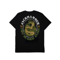 Jackhammer Two-Headed Snake Tee Kaos Pria Black