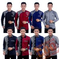 Baju Koko Kombinasi Batik Bordir Pria Lengan Panjang - Fashion Muslim