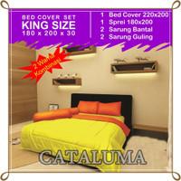 Bedcover Set Polos - 2 Warna - Yellow & Orange - Kingsize 180 x 200
