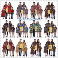 Baju batik family set//ibu dress batik ayah hem batik & anak cowo cewe