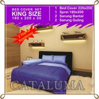 Bed Cover Set Polos - 2 Warna - Blue & Sky Blue - Kingsize 180 x 200