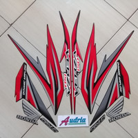 Striping Stiker Motor Honda Verza 150 2016 Full Hitam-Merah