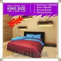 Bed Cover Set Polos - 2 Warna - Maroon & Royal Blue - Kingsize180x200