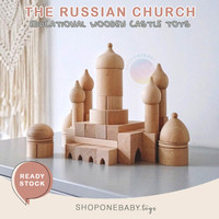Russian Castle Palace Building Wooden Block Toys Mainan Balok Istana