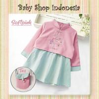 Cheongsam Anak Perempuan Dress Imlek Anak Baju Imlek Anak Cewek Pink