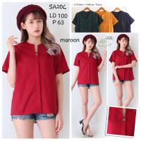 Blouse SA20C lengan pendek LD 100 polos / Baju Atasan wanita blouse