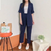 Setelan Baju Wanita Blazer Lengan Pendek + Celana Panjang SET