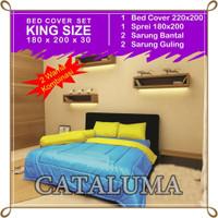 Bed Cover Set Polos - 2 Warna - Royal Blue & Yellow - Kingsize 180x200