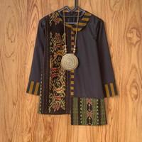 Atasan Wanita Blouse Tenun Etnik Blanket Kombinasi Lurik