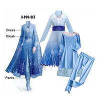 Elsa 3in1 set. Inner baju celana outer cloak princess frozen biru 2