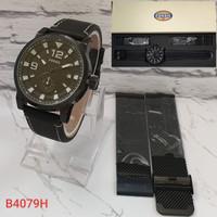 Jam Tangan Fashion Pria Fossil Leather Free box - Hitam