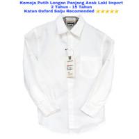 Kemeja Putih Polos Anak Laki Import 2-15 Thn Lengan Panjang Remaja