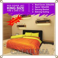 Bed Cover Set Polos - 2 Warna - Orange & Yellow - Kingsize 180 x 200
