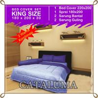 Bedcover Set Polos - 2 Warna - Sky Blue & Blue - Kingsize 180 x 200