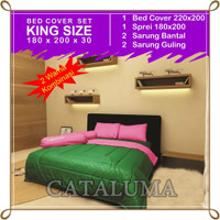 Bed Cover Set Polos - 2 Warna - Green & Pink - Kingsize 180 x 200