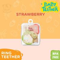 Baby Teether Gigitan Bayi Buah Mainan Gigi Silikon + Free kotak - Merah