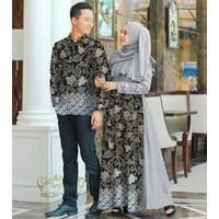 Baju Batik Couple Pasangan Muslim Gamis Brukat Kemeja Panjang Katun