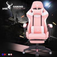 SAGE Chair Kursi bangku GAMING game With Footrest 145 ° SG-168 PINK