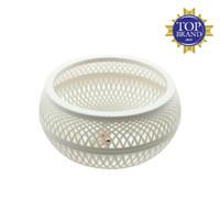 Claris Keranjang Rotunda Anyaman Rotan Plastik 0564 Coklat - Putih