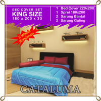 Bed Cover Set Polos -2 Warna - Royal Blue & Maroon - Kingsize 180x200