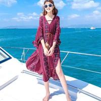 Maxi Dress Wanita V Neck Beach Baju Pantai Flowy Boho Pattern JS