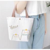 Kawai Cute Canvas Bag Tas Kanvas Minimalis Cute Miao 1020-59